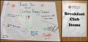 Thank you picture from Dunbar Primary School pupils